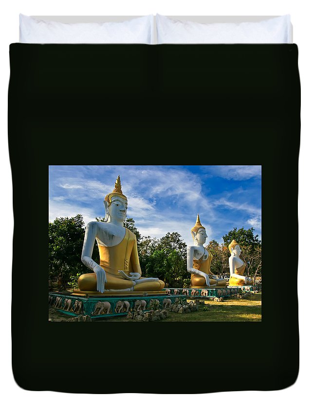 Architecture Duvet Cover featuring the photograph The Three Buddhas by Adrian Evans