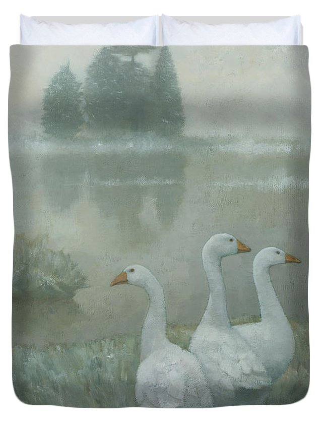 Country Duvet Cover featuring the painting The Three Geese by Steve Mitchell