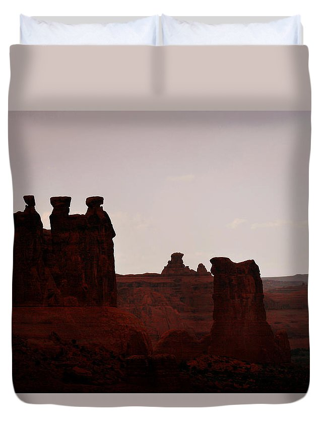 Landscape Duvet Cover featuring the photograph The Three Gossips Arches National Park Utah by Christine Till