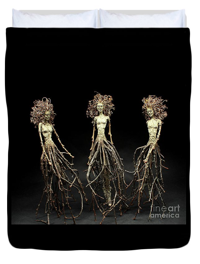 Three Graces Duvet Cover featuring the mixed media The Three Graces Dance by Adam Long