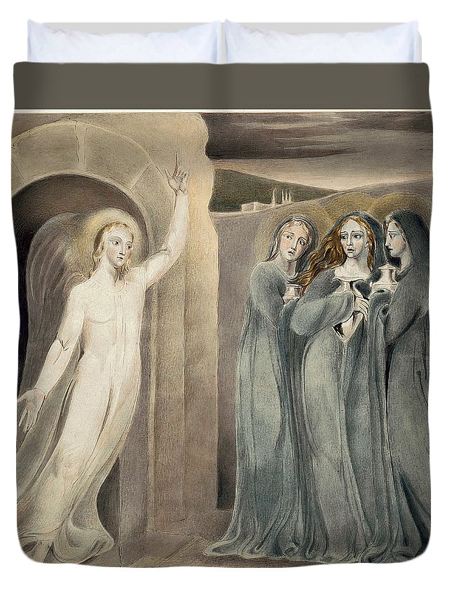 William Blake Duvet Cover featuring the drawing The Three Maries At The Sepulchre by William Blake