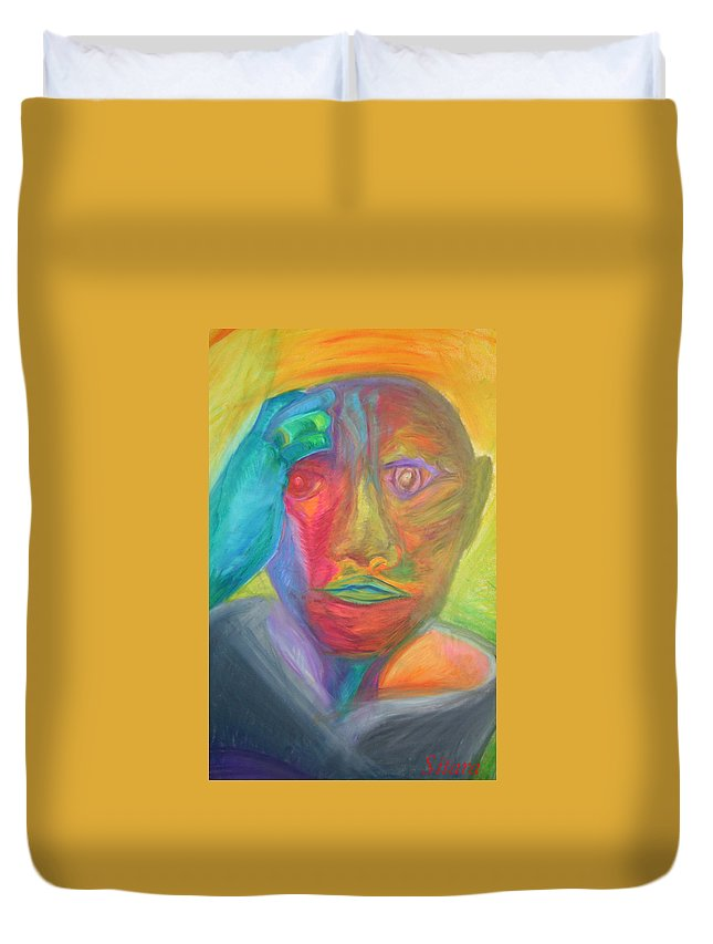 Duvet Cover featuring the pastel The Time Rider by Sitara Bruns