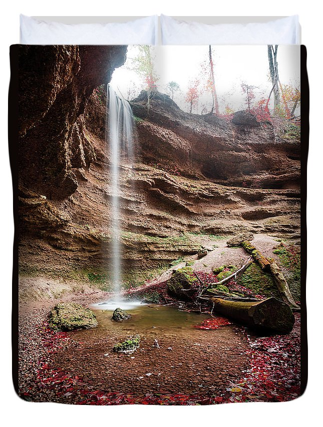 Autumn Duvet Cover featuring the photograph The Tiny Waterfall by Hannes Cmarits