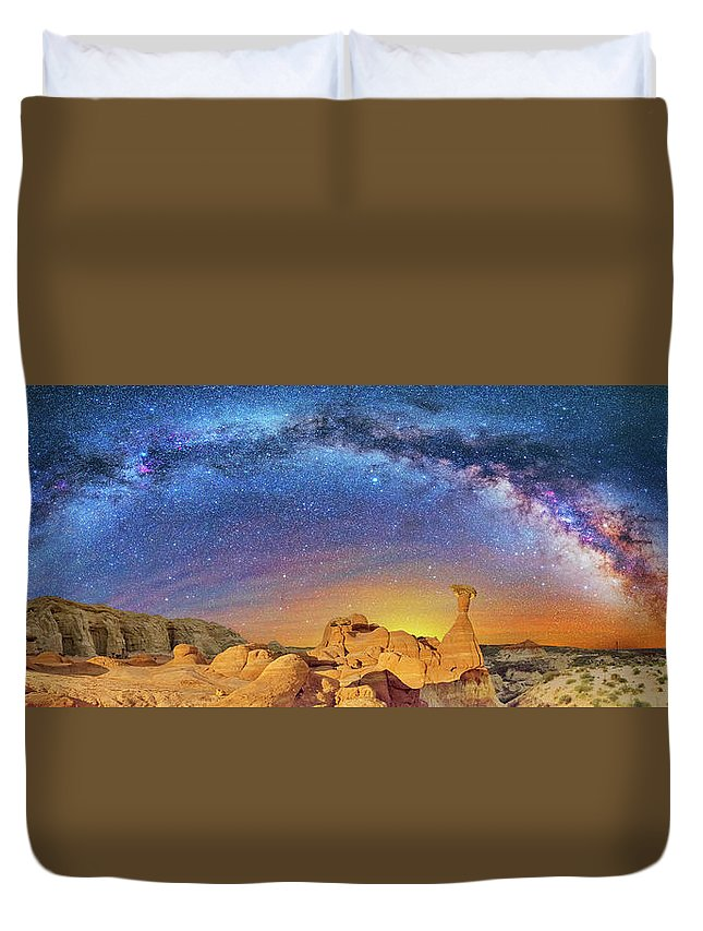 Astronomy Duvet Cover featuring the photograph The Toadstool by Ralf Rohner