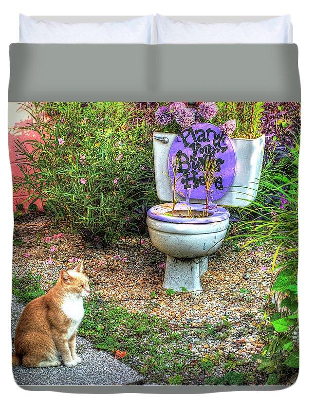 Garden Duvet Cover featuring the photograph The Toilet Garden by TJ Baccari