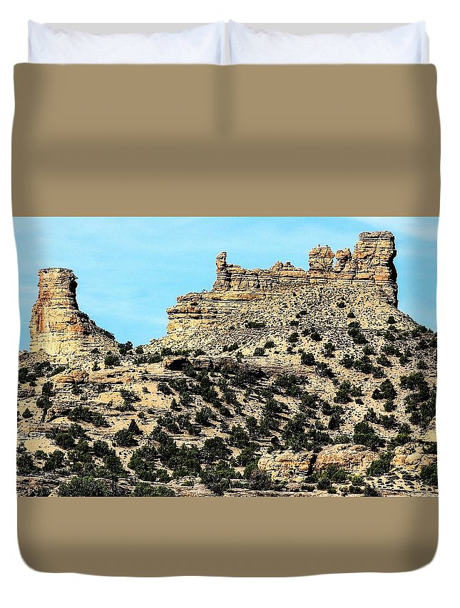 Rock Formations Duvet Cover featuring the photograph The Tower And The Castle by Ron Latimer