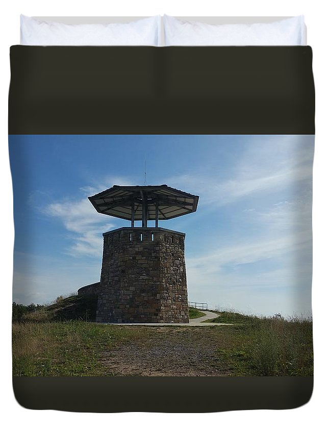 Tower That Touches Skies Duvet Cover featuring the photograph The Tower by Crystal Farmer