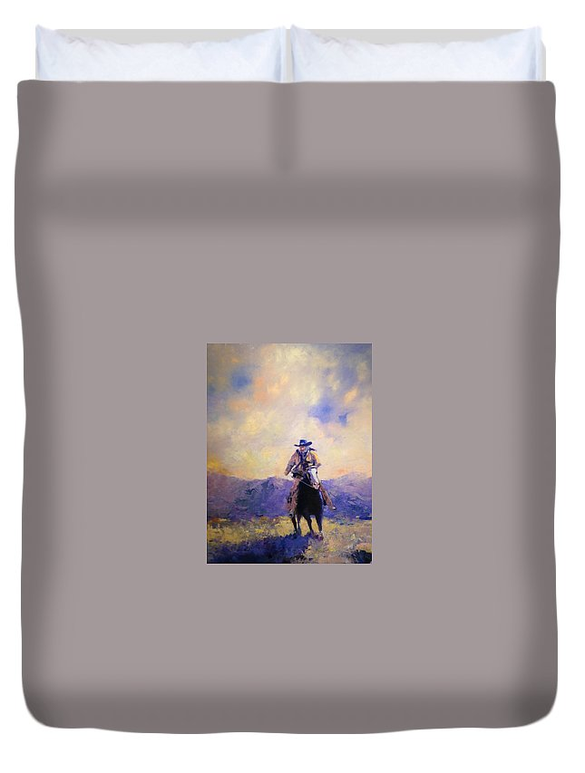 Horse Cowboy Duvet Cover featuring the painting The Tracker by R W Carlson
