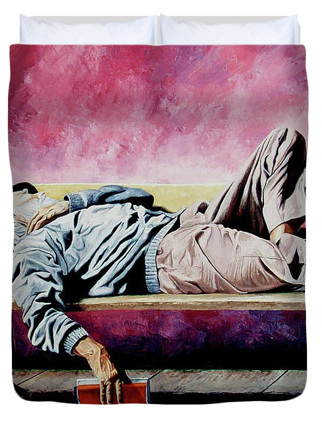 Figurative Duvet Cover featuring the painting The traveler 1 - El viajero 1 by Rezzan Erguvan-Onal