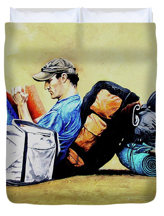 Travel Duvet Cover featuring the painting The Traveler 2 - El Viajero 2 by Rezzan Erguvan-Onal