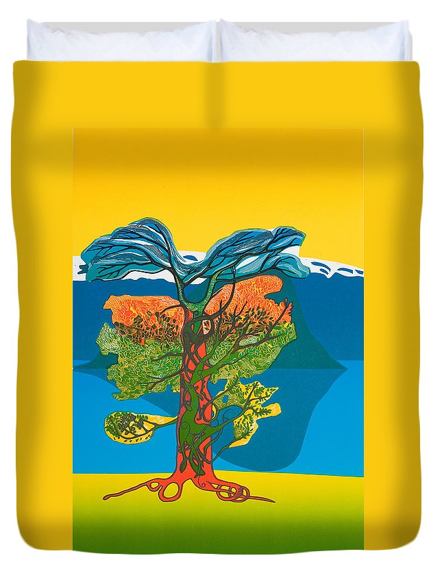 Landscape Duvet Cover featuring the mixed media The Tree of life. From the Viking Saga. by Jarle Rosseland
