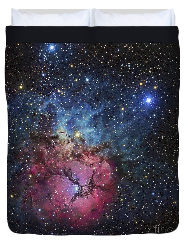 Night Duvet Cover featuring the photograph The Trifid Nebula by R Jay GaBany