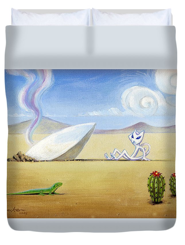 Deecken Duvet Cover featuring the painting The Truth About Roswell by John Deecken