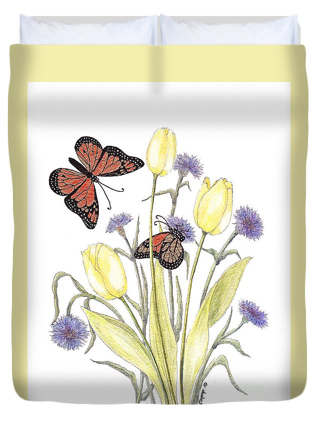 Tulips Duvet Cover featuring the painting The Tulip And The Butterfly by Stanza Widen