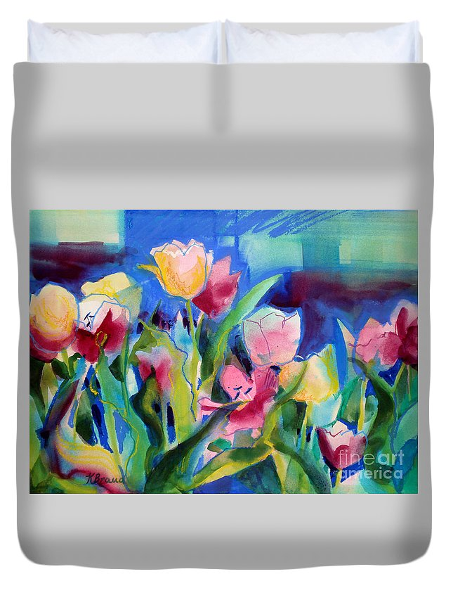 Paintings Duvet Cover featuring the painting The Tulips Bed Rock by Kathy Braud