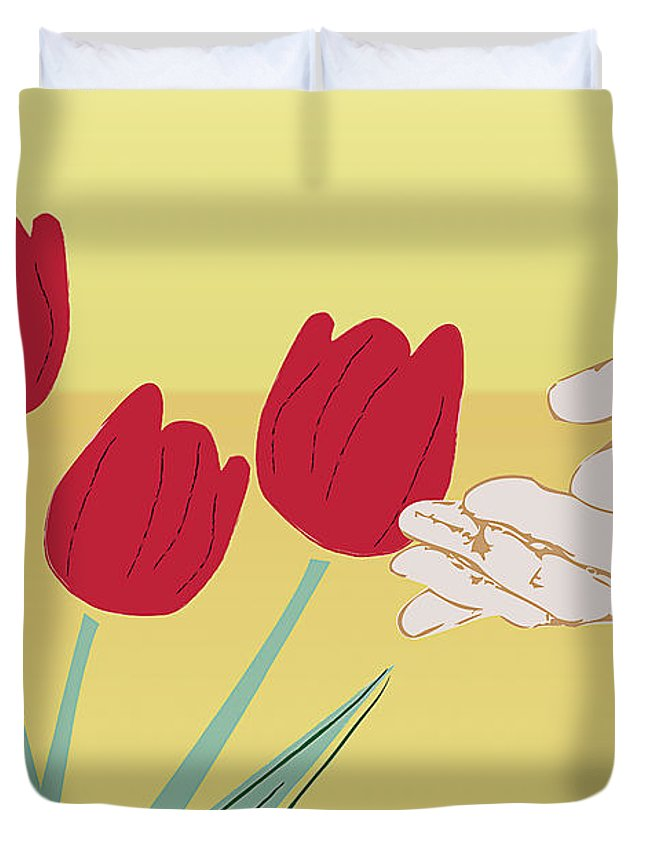 Green Duvet Cover featuring the digital art The Tulips by Milena Ilieva