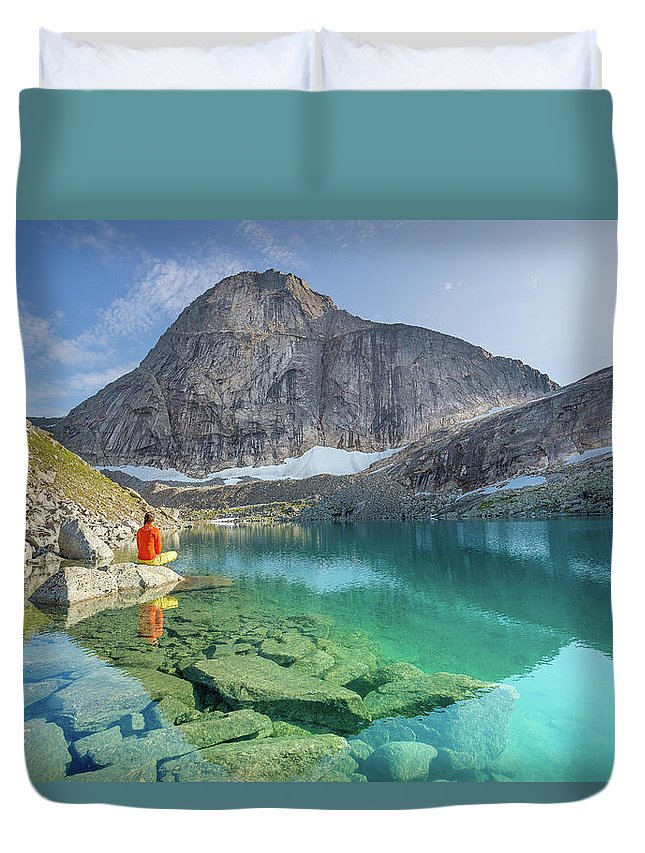 Stetind Duvet Cover featuring the photograph The Turquoise Lake by Alex Conu