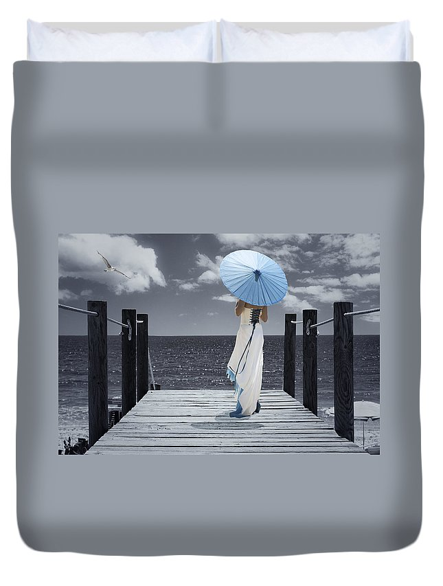 Woman Duvet Cover featuring the photograph The Turquoise Parasol by Amanda Elwell