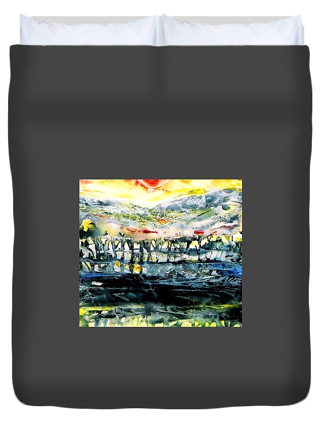 Sunrise Duvet Cover featuring the painting The Twisted Reach Of Crazy Sorrow by Trudi Doyle