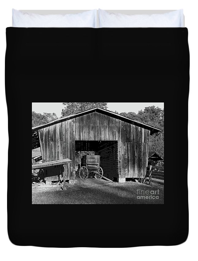 Wagon Duvet Cover featuring the photograph The Undertaker's Wagon Black And White 2 by Steve Gass