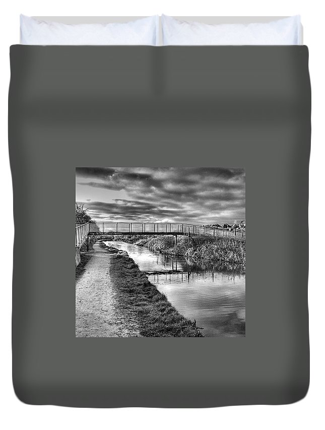 Canal Duvet Cover featuring the photograph The Unfortunately Named Cat Gallows by John Edwards