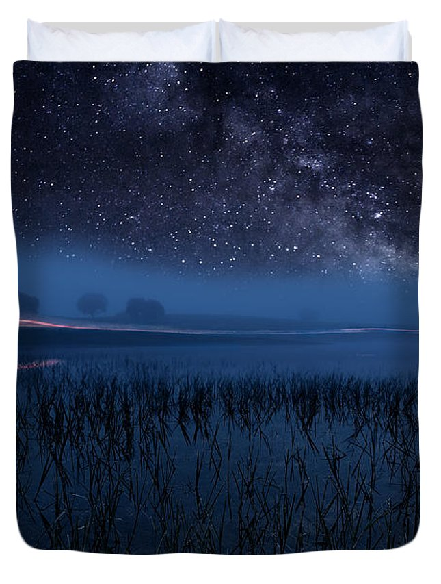 Night Duvet Cover featuring the photograph The Universe by Jorge Maia