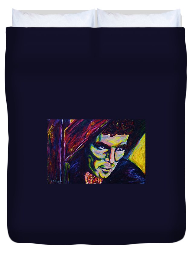 Portraits Duvet Cover featuring the painting The Vampire Lestat by Carole Spandau