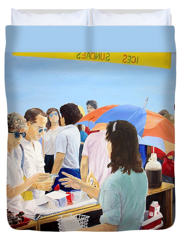 People Duvet Cover featuring the painting The Vendor by Steve Karol