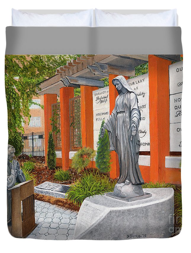 Sculptures Duvet Cover featuring the painting the Venerable Father Patrick Peyton, CSC by Austin Burke