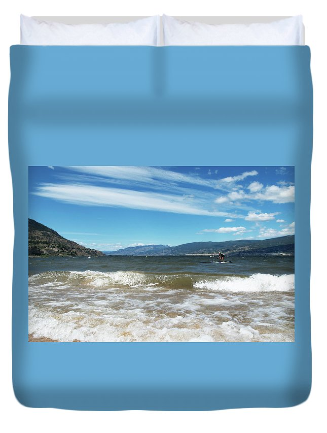 Penticton Duvet Cover featuring the photograph The View From Okanagan Beach by Lisa Knechtel