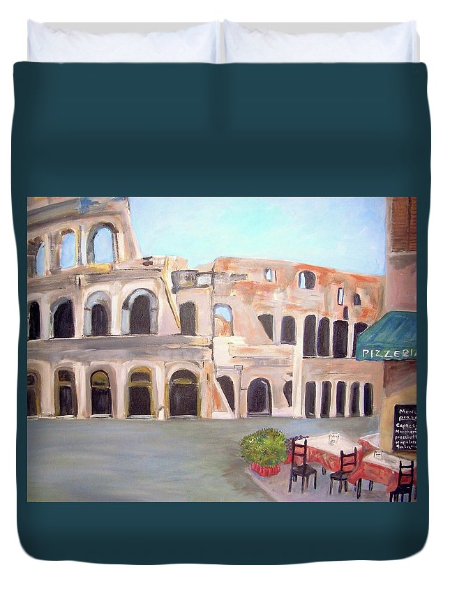 Cityscape Duvet Cover featuring the painting The View Of The Coliseum In Rome by Teresa Dominici