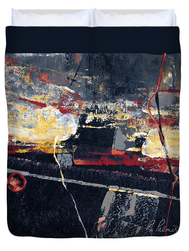 Abstract Duvet Cover featuring the painting The View by Ruth Palmer