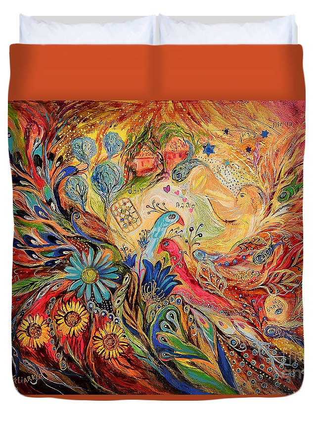 Original Duvet Cover featuring the painting The Village Keeper by Elena Kotliarker