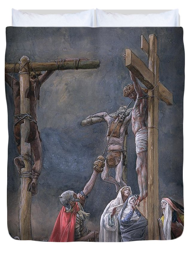 Vinegar Duvet Cover featuring the painting The Vinegar Given To Jesus by Tissot