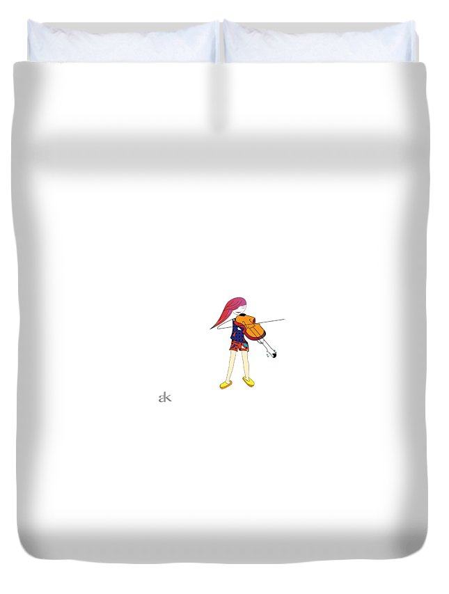 Musician Duvet Cover featuring the digital art The Violin And The Girl by Ani Khachatryan
