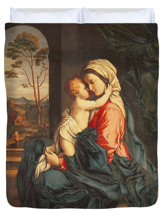 The Duvet Cover featuring the painting The Virgin And Child Embracing by Giovanni Battista Salvi