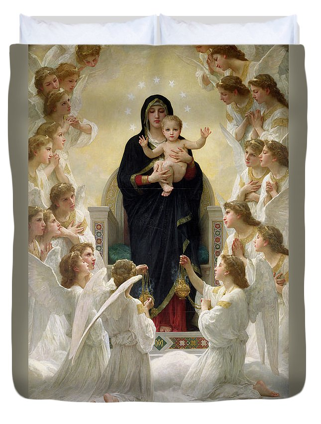 The Duvet Cover featuring the painting The Virgin With Angels by William-Adolphe Bouguereau