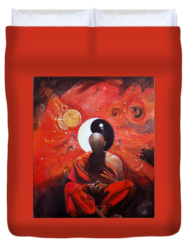 Nirvana Duvet Cover featuring the painting The Virtual Nirvana Man Of The Galaxy by Tusher Kabir