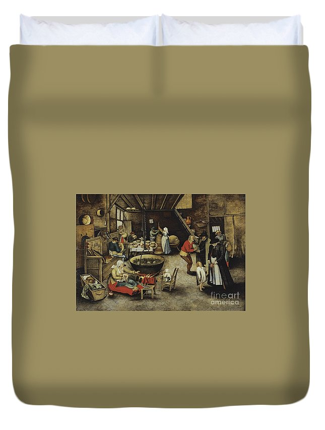 Pieter Brueghel The Younger ; The Visit To The Farm Duvet Cover featuring the painting The Visit To The Farm by Celestial Images