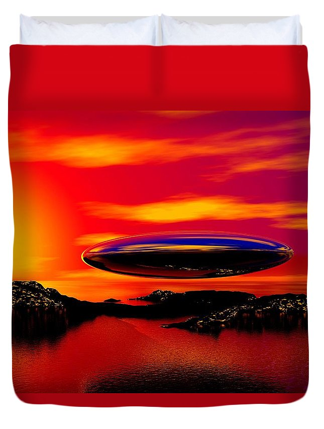 T Duvet Cover featuring the digital art The Visitor by David Lane