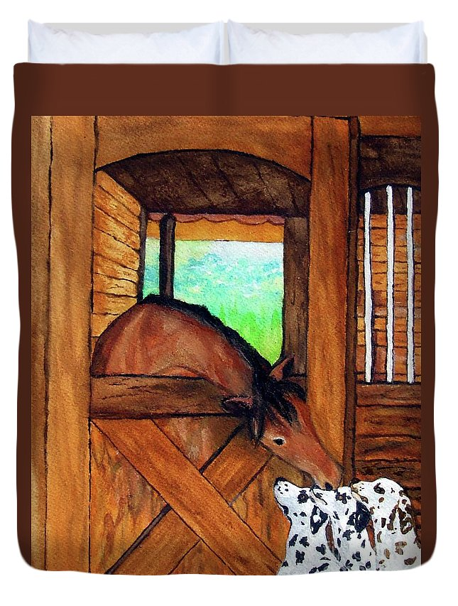 Horse Duvet Cover featuring the painting The Visitors by Jacki McGovern