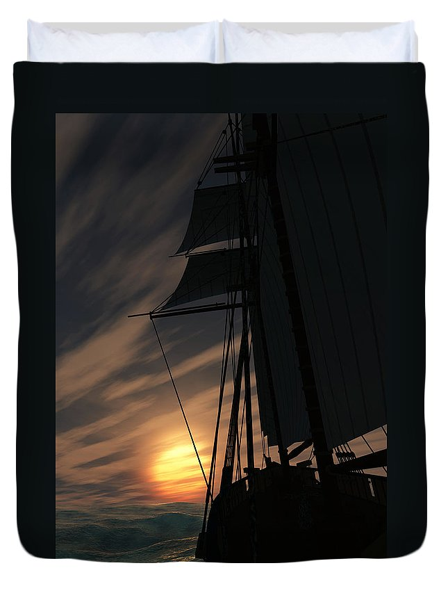 Ships Duvet Cover featuring the digital art The Voyage Home by Richard Rizzo
