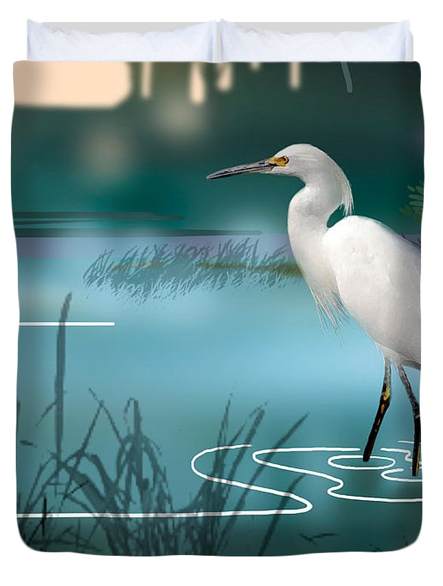 Bird Duvet Cover featuring the painting The Wading Hunter by Paul Sachtleben