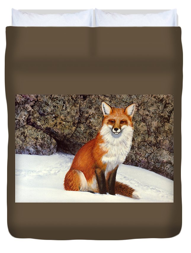 Wildlife Duvet Cover featuring the painting The Wait Red Fox by Frank Wilson