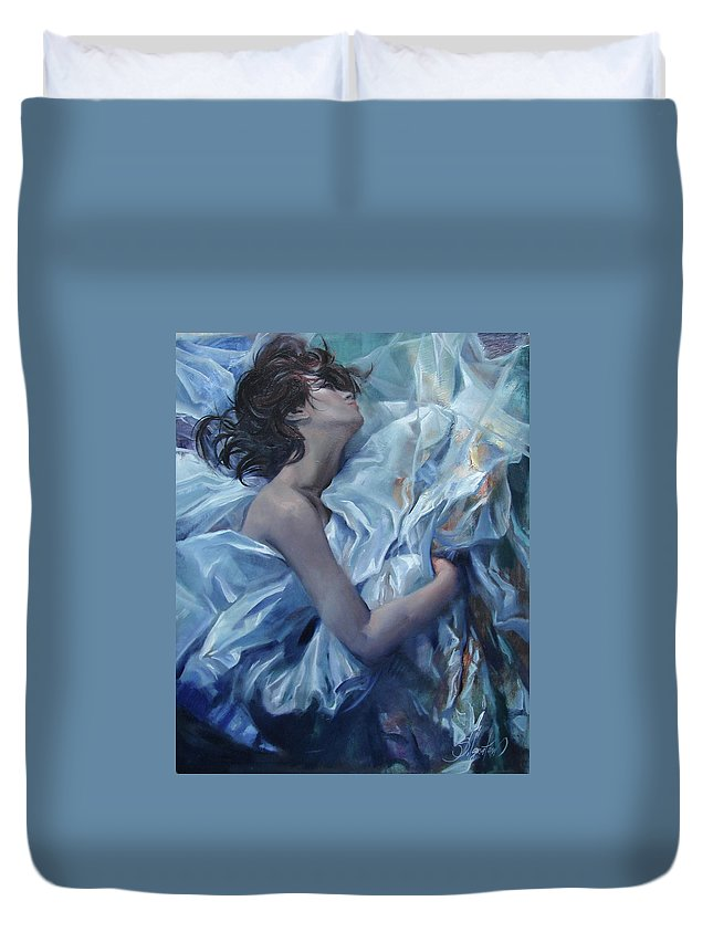 Ignatenko Duvet Cover featuring the painting The waiting for the spring by Sergey Ignatenko