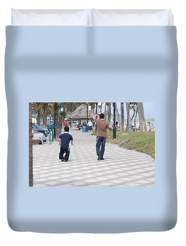 Man Duvet Cover featuring the photograph The Walk by Rob Hans