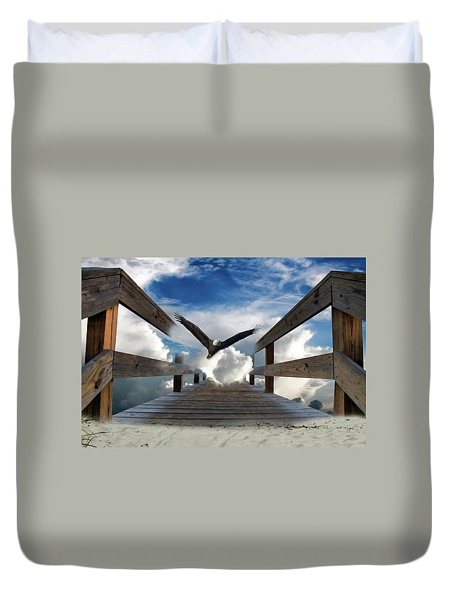 Eagle Duvet Cover featuring the photograph The Walkway by TJ Baccari