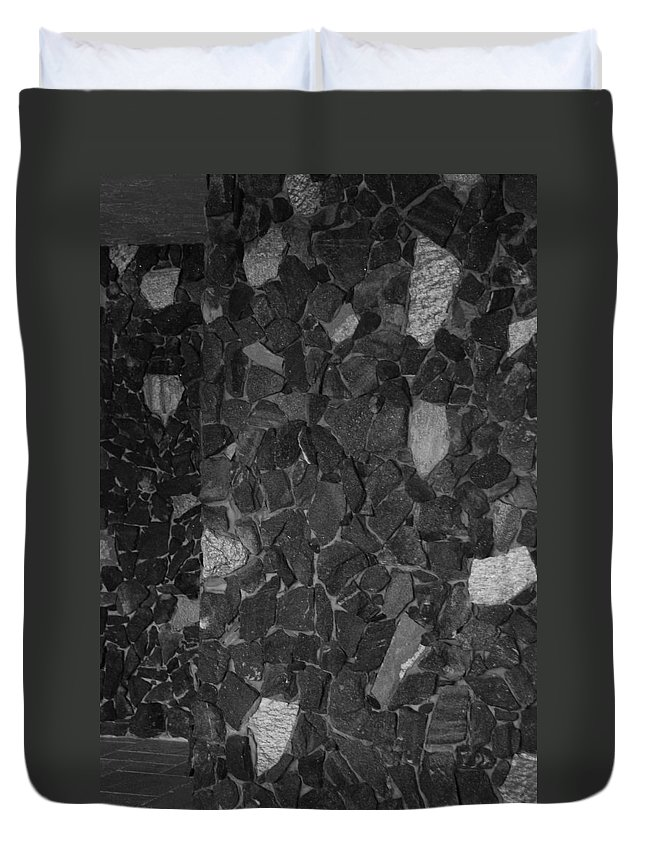 Black And White Duvet Cover featuring the photograph The Wall by Rob Hans