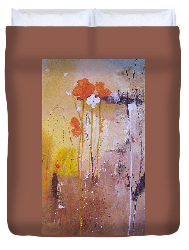 Abstract Duvet Cover featuring the painting The Wallflowers by Ruth Palmer