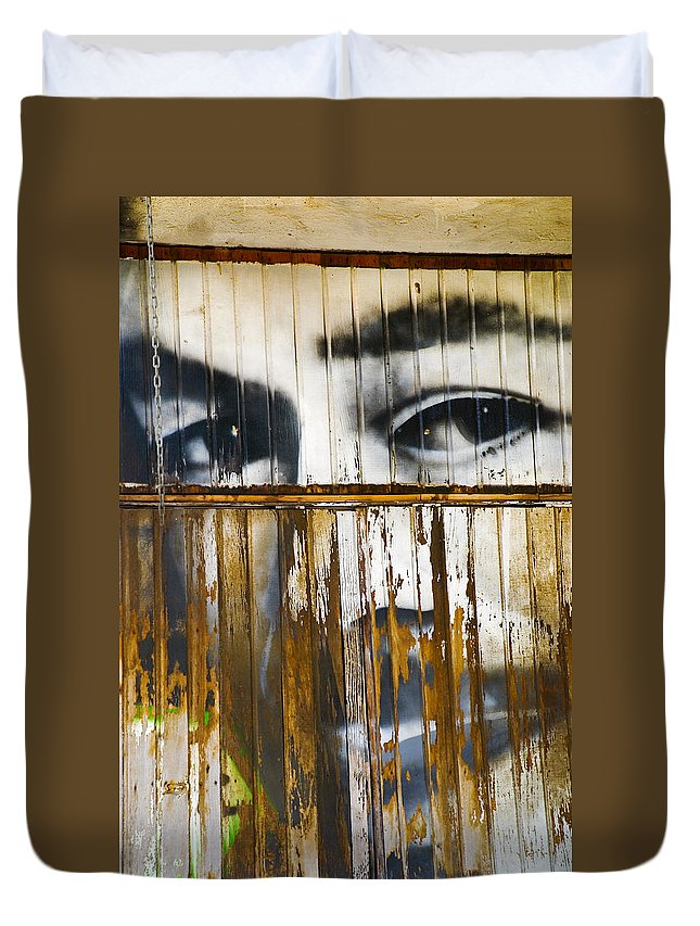Escondido Duvet Cover featuring the photograph The Walls Have Eyes by Skip Hunt